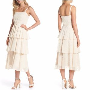 GAL MEETS GLAM Florence Embroidered Tiered Dress